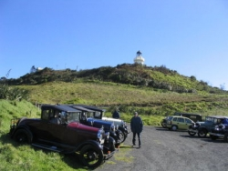 Club run to the Awhitu (Manukau Heads) Lighthouse recently restored. Tom & Helen Whites Model A Roadster at the front..jpg