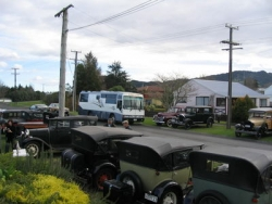 Some of the cars lined up for Aubrey Bateman 94th Birthday run in Waihi on June 17th 2007 m.jpg
