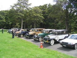 The Club Run to Warkworth and Sandspit visited the historic house at . The cars line up at the morning tea stop at Warkworth..jpg